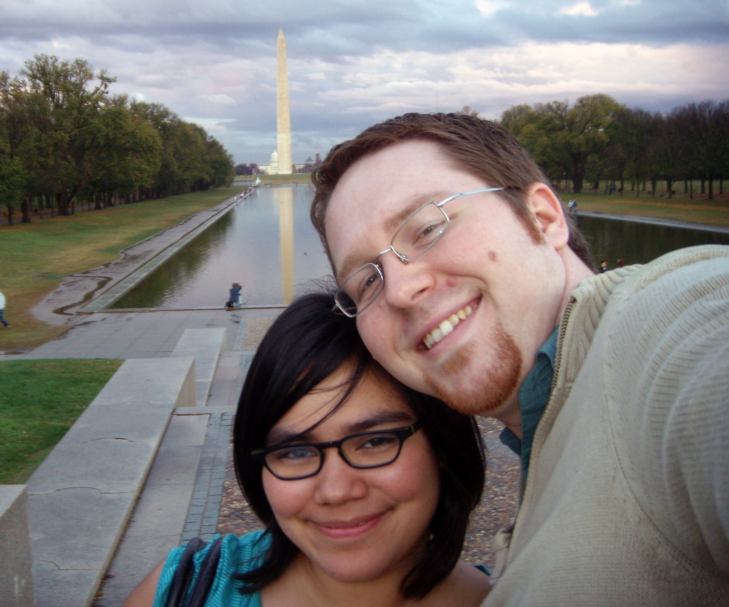 Looking out from the Lincoln Memorial. We're adorable.