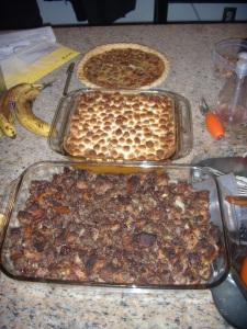 pie, sweet potatoes, stuffing